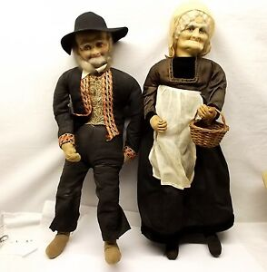 Antique Peasant Stockinette Doll Pair Old Man Woman Ravca Molded Cloth1930s Vtg