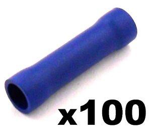 100x Bleu Isolation Droit Connecteur de Bout Électrique Cosses à Sertir pour