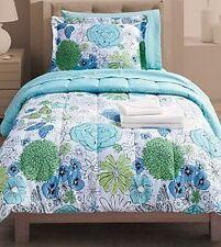 Student Lounge Twin & XL Bed in Bag Blue Floral Comforter Sheet Sets Sham Hamper
