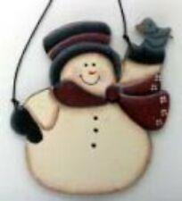 snowman with blue bird ornament wood decor sign