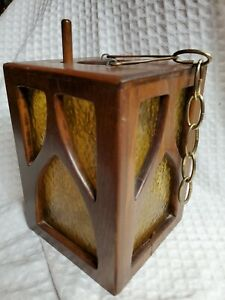 Vintage Mid Century Modern Hanging Candleholder Wood Pebbled Glass Tealight Mod