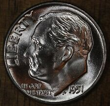 1951 P Roosevelt Dime CH BU LUSTER! 90% Silver US Coin FREE SHIPPING