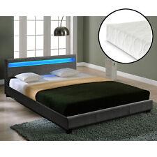 CORIUM LED Textil Doppelbett + Matratze Polsterbett 140x200cm Bett-Gestell Stoff