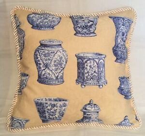 French Country Cottage Pillow Yellow Ivory Blue Fresh Farm House Delft
