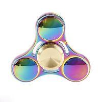 MetalRound Rainbow Fidget Spinner, Metal Hand Spinner Figit Spinner UK FREE POST