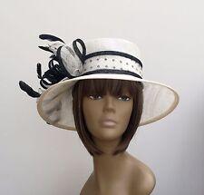 New Ivory Cream/Black Women's Wedding Hat Mother Of The Bride/Groom Ladies Day