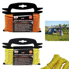 "1/4"" Neon Reflective Guyline Camping Tent Tarp Rope 50' Line Cord Paracord Guide"