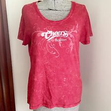 Cheers Boston Shirt Womens Medium Fitted Red TV Show Bar Short Sleeve Top Scoop