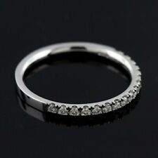 Diamond Micro Pave 14K White Gold Wedding Band 2mm Wide