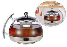 Haushalt International Glas Teekanne, 1,2 Liter, Edelstahl Filter