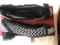 Salvatore Ferragamo VARA W Woven Leather Black White Womens Size 9 Pumps