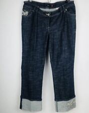 Next womens Dark Wash Crystal Bow Jewel cropped maternity jeans 10 under bump