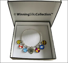 Winning SIlks™ Charm Bracelet - 925 Sterling Silver - 7 Charms Horse racing