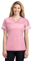 Sport-Tek Women's Short Sleeve V Neck Polyester Dazzle Yoke Basic Tee. LST307