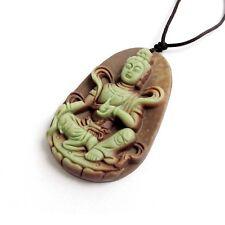 Natural Stone Gem Tibet Buddhist Kwan Yin Guanyin Bodhisattva Amulet Pendant