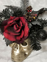 Skull  Red Rose Black Ornaments & Foliage Halloween Fall Decoration Gothic