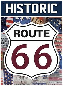 Route 66 Historic metal sign 410mm x 300mm (rh)