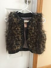 The Buckle BKE Leopard Cheetah Faux Leather Fur Studded Cropped Vest S