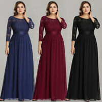 Ever-Pretty Formal 3/4 Sleeve Lace Evening Gown Cocktail Party Dresses Plus Size