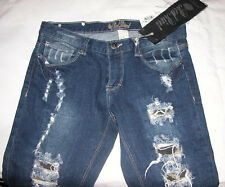 Red Rivet Stretch Skinny Destroyed Low Rise Jeans Sz 7 Juniors