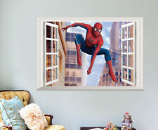 Home Decor 3D Window Spider-man Wall Stickek Decal Removable Boys Kids Bedroom