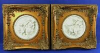 Pair Antique/Vtg White Bisque Porcelain Figural Gold Frame Wall Art Pictures