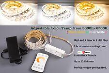 All in one Adjustable LED Strip Light Color Temp 6000K 3000K + Controller +Power