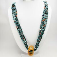 Stunning Native American Turquoise Nugget Necklace Coral Lapis Agate Signed