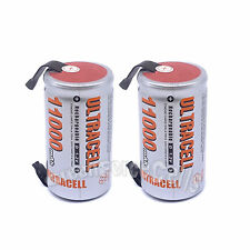 2 pcs D Size 1.2V Volt 11000mAh Ni-MH Rechargeable Battery with tab Ultracell
