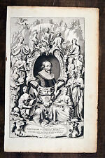 Jacob Cats 1700 Original Antique Print großes Portrait Folio Frontispiece Vader