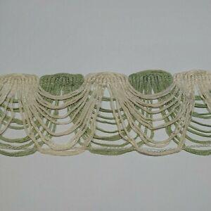 Piece of VINTAGE 1980's delicate green/ivory swag fringe braid