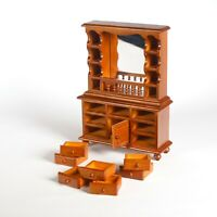 Doll House - Varnished Wood Welsh Dresser Miniature (1:12) with Mirror Back