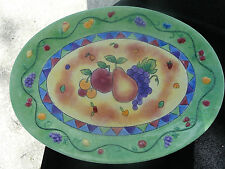 Sango Sangria Yellow Center Fruit Green Rim Embossed Fruit Large Oval Platter