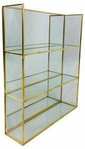 Gold Metal Shelf Unit With Mirror Glass Shelving Display Storage Decor