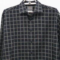 Thomas Dean Button-Up Shirt Mens L Large Plaid Check Black Brown 100% Cotton