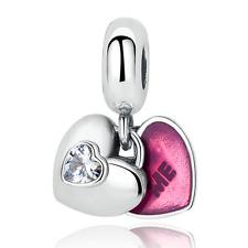 Fine Love Me CZ Clear Pendent Charm Bead Fit European Bracelet