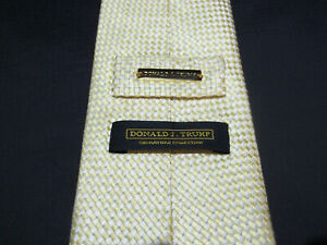 DONALD J TRUMP~ SIGNATURE COLLECTION 100% Silk Yellow with White Checkers Tie