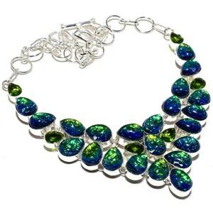 """Triplet Fire Opal, Peridot Handmade 925 Silver Jewelry Necklace 18"""" PK727"""