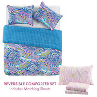 Twin or Full Feather Reversible Bed in a Bag Comforter and Sheet Set Blue Purple