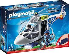 Playmobil City Action 6874 Helicóptero de Policía con Reflectores Led