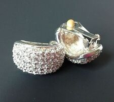 Roman Pave Rhinestone Clip Earrings Curved Silver Tone Clear Crystal Signed