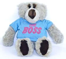 "Emotions Mattel Gray Teddy Bear Blue Shirt The Boss 17"" Plush Stuffed Vtg 1985"