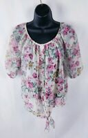 Rue21 Floral Lace Blouse Small Semi Sheer Short Sleeve Women's Medium