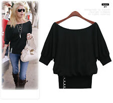 NEW KOREA WOMENS CASUAL PARTY OFF SHOULDER Tunic short TOP TOPS LARGE BLACK