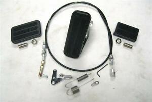 Black Floor Mount Gas Pedal + Brake & Clutch Pad + SS Throttle Cable Bracket Kit