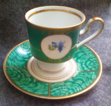 KUNST HUMMENDORF KRONACH TEACUP AND SAUCER GREEN GOLD TRIM FLOWERS ART