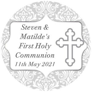 PERSONALISED GLOSS SILVER HOLY COMMUNION STICKERS CONFIRMATION FAVOUR LABELS