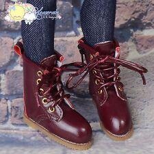 """Releaserain Doll Shoes Martin Stitch Boots Burgundy FIT MSD BJD Minifee 14""""Kish"""