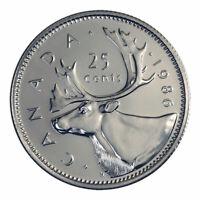 🇨🇦 1986 Canada 25 cents quarter coin, CARIBOU, 1986