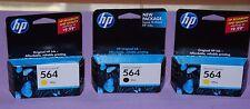 Lot of 3 Genuine HP 564 Photosmart 1 Black & 2 Yellow Ink Cartridge - New Sealed